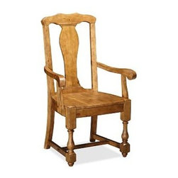 """Cortona Wood Armchair Chair, Vintage Spruce finish - Details like baluster legs and a vase-shaped back splat give this chair the substantial style of Spanish Colonial furniture. With its carved saddle seat, it's also exceptionally comfortable. Side Chair: 20.5"""" wide x 21"""" deep x 42"""" high Armchair: 25.5"""" wide x 21"""" deep x 42"""" high Handcrafted of kiln-dried hardwood. Finished by hand in our exclusive Alfresco Brown stain. Use with our Medium PB Classic Cushion (sold separately). View our {{link path='pages/popups/fb-dining.html' class='popup' width='480' height='300'}}Furniture Brochure{{/link}}."""