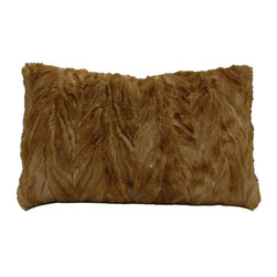 Reclaimed Vintage Dark Blonde Mink Fur Pillow - Indulge in the sumptuous feel of fur with this lush impeccably detailed dark blonde mink fur pillow. Made from genuine mink fur reclaimed from clean vintage coat c. 1950's. Variegated shades of dark and light caramel mink fur on the front with new dark chocolate velvet back with original inner corded trim used as small subtle welt. Down/feather pillow form included. Hidden zipper closure.