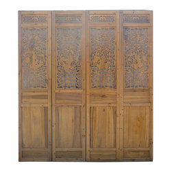 Golden Lotus - Set/ 4 Pieces Chinese Qing Dynatsy Four Famous Poets Carving Wall Screen Panel - Look at this set/4pcs wall screen panel which is made of solid elm wood.  The top of panel has Chinese Qing Dynasty four famous poets carving on it and the botton part represents Chinese tradtional four season.