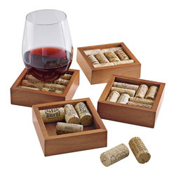 Wine Enthusiast - Wine Enthusiast Wine Cork Coaster Kit - The perfect DIY gift for wine lovers, this kit includes four coaster frames made of ecofriendly sourced wood. Approximately 32 wine corks are required to complete the coasters that will become the perfect conversation pieces at your next get-together or party.