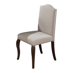 Jofran - Jofran Upholstered Side Chair in Grand Terrace (set of 2) - Jofran - Dining Chairs - 634422KD - The regal elegance of this upholstered side chair is anything but understated. Crafted to capitalize on the elegant designs of the traditional period this chair features an upholstered construction with cabriole styled legs and a parson chair influence. Nail head trim adds an additional accent adorning the piece while maintaining its simplicity.