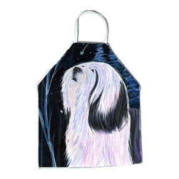 Caroline's Treasures - Tibetan Terrier Apron SS8348APRON - Apron, Bib Style, 27 in H x 31 in W; 100 percent  Ultra Spun Poly, White, braided nylon tie straps, sewn cloth neckband. These bib style aprons are not just for cooking - they are also great for cleaning, gardening, art projects, and other activities, too!