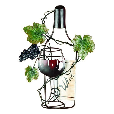 Tripar Red Wine Bottle Wine Art, Vintage Wine Accessory - Wine bottle wall art made of antique metal with red wine glass and bottle trimmed with grapes and grape leaves