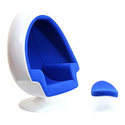 "LexMod - Alpha Lounge Chair in Blue - Alpha Lounge Chair in Blue - The unconventional shape and construction of the Alpha Shell Egg Chair makes it perfect for sound isolation, a cozy quiet area to sit and read. Its chamber-like shape and upholstered interior cancels out most outside noise, providing a unique environment for meditation, relaxation or just getting away from it all. Set Includes: One - Alpha Shell Egg Chair One - Matching Ottoman Fiberglass Shell, Poly - Cotton Interior, Noise Canceling Interior Overall Product Dimensions: 30""L x 38.5""W x 59""H Seat Dimensions: 20""L x 18.5""W x 15""H Armrest Height: 24.5""HBACKrest Dimensions: 42.5""H Ottoman: 14""L x 21""W x 14.5""H - Mid Century Modern Furniture."