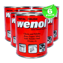 Wenol - Wenol All Metal Polish, 1000 Ml Can, Qty 6 - Made using the most advanced technology, Wenol Metal Polish is an innovative cleaner and shiner for metallic surfaces and articles. The modern formula works effectively to help remove the toughest stain from the metal surface and hence resulting in a fine glossy finish that is as good as new. Wenol Metal Polish is a complete one-product solution for cleaning and restoring the gleam for worn out, oxidized, rusted, discolored metal surfaces. Use Wenol Red to clean the surface and polish it with  Wenol Blue for a brand new makeover of old metallic objects. Restore the original finish for vessels, bathroom accessories, car wheels, and a score of other such things with super-formulated Wenol Metal Polish.