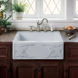 """Kohler K-14571-T1 Artist Editions 25"""" Single Basin Tile-In Fireclay Kitchen Sink - True artistry is always inspired. The Kohler Artist Editions bring that one of a kind quality and flair that you will not find in every home. Whether it uses exotic materials, such as cast brass, or uses the unique painted designs create that wonderfully inspired feel. From delicate floral patterns to bold geometrical patterns to even scenic wildlife and landscapes, the custom designs and textures are sure to impress."""