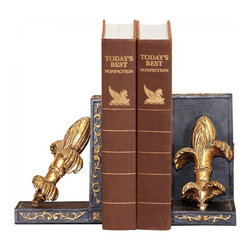Joshua Marshal - Pair French Fleur Bookends - Pair French Fleur Bookends