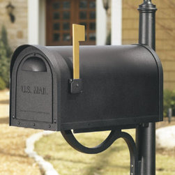 Grandin Road - Curbside Mailbox - Solid cast aluminum construction withstands the test of time. Durable powdercoated finish will not rust or peel in the elements. Clever design features a slight overhang to keep mail dry. Mailbox walls are 20% thicker than others for a lifetime of service. Assembly required for post; view instructions. Our Classic Curbside Mailbox & Post boasts a stately, traditional shape and heavy-duty construction. The optional Lockbox easily attaches to the inside of the mailbox to keep mail safe until you can retrieve it.. . . Mailbox walls are 20% thicker than others for a lifetime of service. .