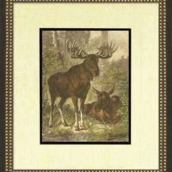 Wendover Art - Small Moose - This striking Giclee on Paper print adds subtle style to any space. A beautifully framed piece of art has a huge impact on a room for relatively low cost! Many designers and home owners select art first and plan decor around it or you can add artwork to your space as a finishing touch. This spectacular print really draws your eye and can create a focal point over a piece of furniture or above a mantel. In a large room or on a large wall, combine multiple works of art to in the same style or color range to create a cohesive and stylish space! This striking image is beautifully framed in black and leaf.
