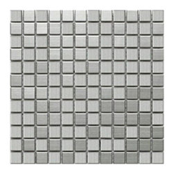 CNK Tile - Stainless Steel Mosaic Tile 1x1 - Our heavy duty stainless steel mosaic tiles are made with a heavy porcelain base, double A grade stainless steel with a mesh backing for easy installation. These stainless steel tiles are great for vertical surfaces such as a backsplash for a stove top in the kitchen. Unsanded grout is required for the installation for stainless steel tiles.  Stainless steel 1x1 are sold in square foot mesh mounted sheets with 12 tiles across the top and side.