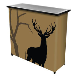 Trademark Home Collection - Hunting Deer 2 Shelf Portable Bar with Case - Two Shelves. Collapsible for Easy Transport and Storage. Metal construction. Top of Bar Measures 39 x 15 inches. Convenient Carrying Case. Huge Full Color Wrap. Beverages NOT Included. 39 in. L x 15 in. W x 36 in. H (41 lbs.)