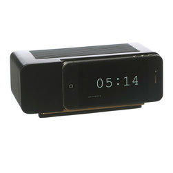 iPhone 5 Black Marble Clock - Retro clocks are back! And now they're fueled by new technology. Plug in your iPhone 5 or 4 (specific to the clock style) and run a flip clock app to make the illusion of an old-time clock complete. It's also a great stand to sit back and stream your latest addiction (like the full season of House of Cards).