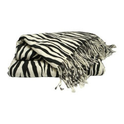 Pure Cashmere Throw Blanket, Zebra - Cashmere blankets and throws make cuddly housewarming and baby shower gifts. In a zebra print, they also make a pretty statement at the end of a bed or arm of the sofa.