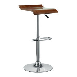 LexMod - Bentwood Bar Stool in Oak - The Bentwood Bar Stool is constructed of a chromed steel frame and base. It has a bent plywood seat with natural wood finishes. This stool operates on an adjustable hydraulic piston. This item is made similar in style to the award winning LEM Piston Stool. Perfect for entertaining guests at your own bar at home, or for stylish seating around the counter.