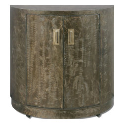 Uttermost - Uttermost Cesano Console Cabinet 24261 - Brushed, Heavily Antiqued, Rustic Bronze Metal Over Curved Front Cabinet With Double Doors, Interior Shelf And Heavy, Metal Door Pulls.