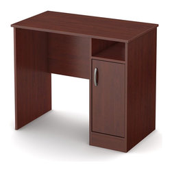 South Shore - Kids Small Desk in Royal Cherry - Accessories not included. Metal handle in a pewter finish. Narrow configuration help to fit it in tight spaces. Two storage spaces separated by one adjustable shelf behind the door. Open storage space, to keep the essentials within easy reach. Two holes in the back panel which allows for easy wire management. Laminated particle board. Warranty: Five years. Made in Mexico. Assembly required. 35.5 in. W x 19.5 in. D x 30.25 in. H (52 lbs.). Assembly InstructionsThis Axess small work desk is the perfect answer to organize your childs room. Its compact design includes all the space you need for a well-organized workspace.