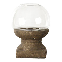 Zentique - Candle Holder - Large - Bring the warm glow of candlelight into your favorite setting with this original, rough-hewn piece. The chunky base, sculpted of granular clay, stands in attractive contrast to the domed glass bowl that surrounds the flame.