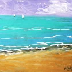 """Beach And Two Sailboats  (Original) by Russ Potak - Original acrylic painting on stretched 16x20"""" canvas."""
