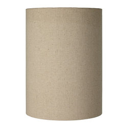 "Lamps Plus - Contemporary Cotton Blend Tan Cylinder Shade 8x8x11 (Spider) - Add a crisp modern touch to your lighting with this impressive cylinder shade. The design features a tan cotton blend exterior with a chrome finish spider fitting. The correct size harp is included free with this purchase. Cylinder shape. Tan cotton blend. Unlined. Spider fitting with a 2 1/2"" drop. 8"" across the top. 8"" across the bottom. 11"" high.  Cylinder shape.  Tan cotton blend.  Unlined.  Spider fitting with a 2 1/2"" drop.  8"" across the top.  8"" across the bottom.  11"" high."