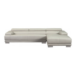 White Line Imports - Melody Gray Leather Sectional Sofa with Right Chaise - Features: