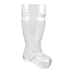 Zeckos - One Liter Heavy Glass Beer Boot Pitcher Mug - Get the party started right with this molded glass Western style beer boot beverage glass. This beer glass / pitcher is made of thick glass with a heavy base, and holds a full liter of your favorite beverage. Note: There's a trick to getting the liquid out of the toe of the boot without spilling it all over yourself. The glass measures 9 3/4 inches tall, 5 1/2 inches deep and 4 inches wide. This glass makes a great gift for your favorite beer lover.