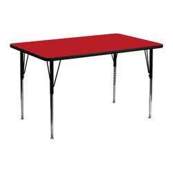 Flash Furniture - Flash Furniture 30 x 60 Rectangular Activity Table with 1.25 Inch Laminate Top - Flash Furniture's XU-A3060-REC-RED-H-A-GG warp resistant high pressure laminate rectangular activity table features a 1.25'' top and a high pressure laminate work surface. This Rectangular high Pressure Laminate activity table provides an extremely durable (no mar, no burn, no stain) work surface that is versatile enough for everything from computers to projects or group lessons. Sturdy steel Legs adjust from 21.25'' - 30.25'' high and have a brilliant chrome finish. The 1.25'' thick particle board top also incorporates a protective underside backing sheet to prevent moisture absorption and warping. T-mold edge banding provides a durable and attractive edging enhancement that is certain to withstand the rigors of any classroom environment. Glides prevent wobbling and will keep your work surface level. This model is featured in a beautiful Red finish that will enhance the beauty of any school setting. [XU-A3060-REC-RED-H-A-GG]