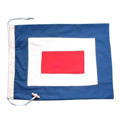 Handcrafted Nautical Decor - Letter W Cloth Nautical Alphabet Flag - Our     20'' long nautical signal flags are made from double sided cotton     fabric.  They are hand-sewn, double-stitched and ready to hang.  With     their bold and bright colors, these nautical flags are the perfect way     to string from wall to wall your favorite name, phrase, saying or     number.  Great for nautical Decor, kid's parties, or for any nautical event.--20'Long x 14'High --NOTE:  If ordering more than 10 letters or numbers, please contact us for a quantity discount.