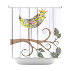 DiaNoche Designs - Shower Curtain Artistic - Bird Talk - DiaNoche Designs works with artists from around the world to bring unique, artistic products to decorate all aspects of your home.  Our designer Shower Curtains will be the talk of every guest to visit your bathroom!  Our Shower Curtains have Sewn reinforced holes for curtain rings, Shower Curtain Rings Not Included.  Dye Sublimation printing adheres the ink to the material for long life and durability. Machine Wash upon arrival for maximum softness. Made in USA.  Shower Curtain Rings Not Included.