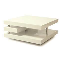 """Pastel Furniture - Pastel Furniture Viceroy Coffee Table X-WG-HC-514-YV - The Viceroy coffee table with its very modern and unique design will add style and elegance to your living area. This 47"""" x 24"""" rectangular coffee table comes in glossy white wood with chrome design."""