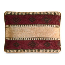 Croscill - Croscill Navajo Boudoir Toss Pillow - This beautifully colored Navajo boudoir pillow brings the rustic splendor of the American Southwest into your bedroom with alternating rows of maroon and camel on luxuriously soft chenille. It pairs perfectly with the Navajo bedding ensemble.