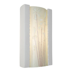 A19 - Meadow Wall Sconce White Gloss and White Frost - Light shines from the top and bottom of the fixture as well as through the translucent pane featuring fused-on raised petals and flowers for a unique meadow design. The rectangular ceramic frame curves in gently at the back and supports a convex pane of textured, recycled art glass.