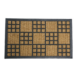 None - Rubber-Cal 'Summer in Cardiff' Outdoor Coir Rubber Mat - This distinctive 'Summer in Cardiff' coconut doormat is made with natural and reclaimed rubber and all-natural coir fiber for an eco-friendly, durable safety mat.