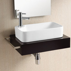 Caracalla - Rectangular White Ceramic Vessel Bathroom Sink - Contemporary style, rectangular white ceramic vessel bathroom sink with one hole. Stylish above counter washbasin comes without overflow. Made in Italy by Caracalla. Made out of white ceramic. Modern design. Without overflow. Standard drain size of 1.25 inches.