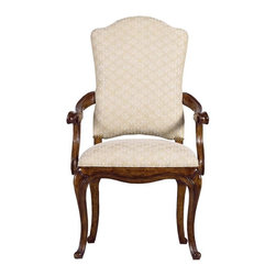 Stanley Furniture - Arrondissement-Volute Arm Chair - The head of the table deserves a seat as welcoming and distinguished as the Volute Arm Chair. Evoking classic 18th century French design with the chair's cabriole legs and antique brass nailhead trim, the design is worthy of your most-esteemed guest.