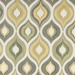 Gold, Blue and Green, Bright Contemporary Upholstery Fabric By The Yard - This contemporary upholstery jacquard fabric is great for all indoor uses. This material is uniquely designed and durable. If you want your furniture to be vibrant, this is the perfect fabric!