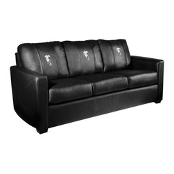 Dreamseat Inc. - Soccer Forward Xcalibur Leather Sofa - Check out this incredible Sofa. It's the ultimate in modern styled home leather furniture, and it's one of the coolest things we've ever seen. This is unbelievably comfortable - once you're in it, you won't want to get up. Features a zip-in-zip-out logo panel embroidered with 70,000 stitches. Converts from a solid color to custom-logo furniture in seconds - perfect for a shared or multi-purpose room. Root for several teams? Simply swap the panels out when the seasons change. This is a true statement piece that is perfect for your Man Cave, Game Room, basement or garage.