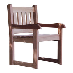 All Things Cedar - Cedar Dining Arm Chair - The flagship of deck furniture. Easy to get into, easy to get out of. Great for the host, who has to be up and down or just comfortable sitting. Item is made to order.