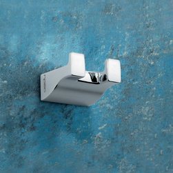 Gedy - Square Polished Chrome Double Hook - Modern, decorative double robe or towel hook made of chromed brass. Hook made of chromed brass. From the Gedy Glamour collection.