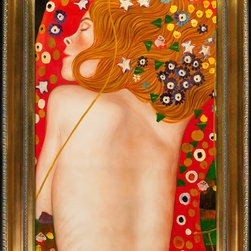 """overstockArt.com - Klimt - Sea Serpents IV (modest) - 24"""" X 36"""" Oil Painting On Canvas Hand painted oil reproduction of a famous Klimt painting, Sea Serpents IV. Today it has been carefully recreated detail-by-detail, color-by-color to near perfection. Gustav Klimt (1862-1918) was one of the most innovative and controversial artists of the early twentieth century. Influenced by European avant-garde movements represented in the annual Secession exhibitions, Klimt's mature style combines richly decorative surface patterning with complex symbolism and allegory, often with overtly erotic content. This work of art has the same emotions and beauty as the original. Why not grace your home with this reproduced masterpiece? It is sure to bring many admirers!"""