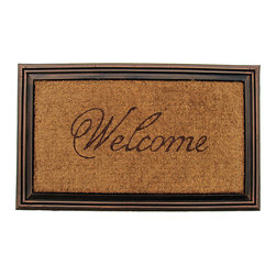 None - Coir Faux-wood Welcome Border Door Mat (1'9 x 2'11) - Make your visitors feel welcome from the moment they step up to the entrance of your home with this faux-wood welcome door mat. The mat is both mildew-resistant and fade-resistant to provide you with years of use with a like-new appearance.