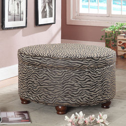None - Animal Print Round Ottoman - This stylish ottoman features a fabulous animal stripe print in black and creamy tan on smooth chenille fabric, complemented by espresso-finished, solid wood legs. This trendy ottoman is great as a modern accent table or for added seating.