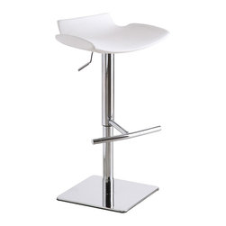 J&M Furniture - Swivel White C159-3 Barstool - A truly unique, incredibly comfortable C159-3 Swivel White Barstool by M Furniture, this sophisticated, backless design comes with a stainless steel base and footrest. Manufactured with foam injection molding.Advantages of foam injection molding include absence of the sink mark on the part surface, better geometric accuracy, weight reduction, low back pressure, faster cycle time, better weld line strength, high stiffness-to-weight ratio, etc.It swivels 360 degrees and has a hydraulic adjustable seat, not to mention a unique foot rest for your comfort.