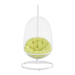 Modway - Encounter Rattan Outdoor Patio Swing Chair – Suspension Series - Eei-73 - Sturdy aluminum outdoor stand with white finish