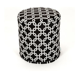 Majestic Home - Indoor Black Links Small Pouf - The classic beanbag just got better, now in a cute pouf version perfect for your bedroom, dorm suite or chick cave. It's made of durable cotton twill, and that chain pattern in your choice of colors couldn't be more fabulous.