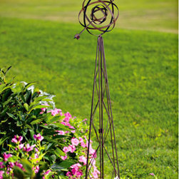 Armillary Garden Ornament - I love the design and the height of this garden ornament. It would look great in the middle of a bed, standing above colorful flowers. It has a delicate, almost ribbon like feel to the spheres at the top and would add interest and a focal point to a garden bed.