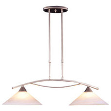 Shop Westmore Lighting 2-Light Satin Nickel Island Light with White Shade at Low