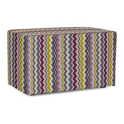 Howard Elliott - Bolt Eggplant Universal Bench Cover - The Universal Bench in Bolt will electrify your decor with its energetic combination of colors. Velcro fasteners and tailored design make it so you would never know this piece is slipcovered. Cleaning and updating is a breeze, change your look on a whim with new covers!