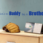 Decals for the Wall - Wall Decal Sticker Quote Vinyl Art Lettering Brothers are Buddies Boy's Room K10 - This decal says ''There's no buddy like a brother''
