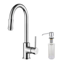 Kraus - Kraus Single Lever Pull Out Kitchen Faucet and Soap Dispenser Chrome - *Update the look of your kitchen with this multi-functional Kraus pull-out faucet