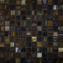 "Glass Tile Oasis - Dark Wood 1"" x 1"" Black Pool Frosted Glass - Sheet size:  12 5/8"" x 12 5/8""     Tile Size:  1"" x 1""     Tiles per sheet:  144     Tile thickness:  1/4""      Sheet Mount:  Paper Face      Sold by the sheet    -  Brilliant glass combed through with coordinating colors and available in 14 mouth-watering colors  in both Iridescent and Frost finishes.Waterfall tiles are hand-poured and will have a certain amount of variation and variegation of color  tone  shade and size. Additionally  you will notice creases  wrinkles  shivers  waves  bubbles topped off with a natural surface to catch all forms of light for a brilliant effect. These characteristics of natural glass and only serve to enhance the final beauty of the installation."